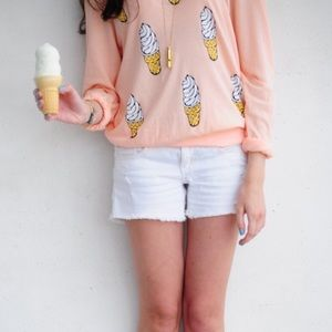 Wildfox Ice cream peach long sleeve top